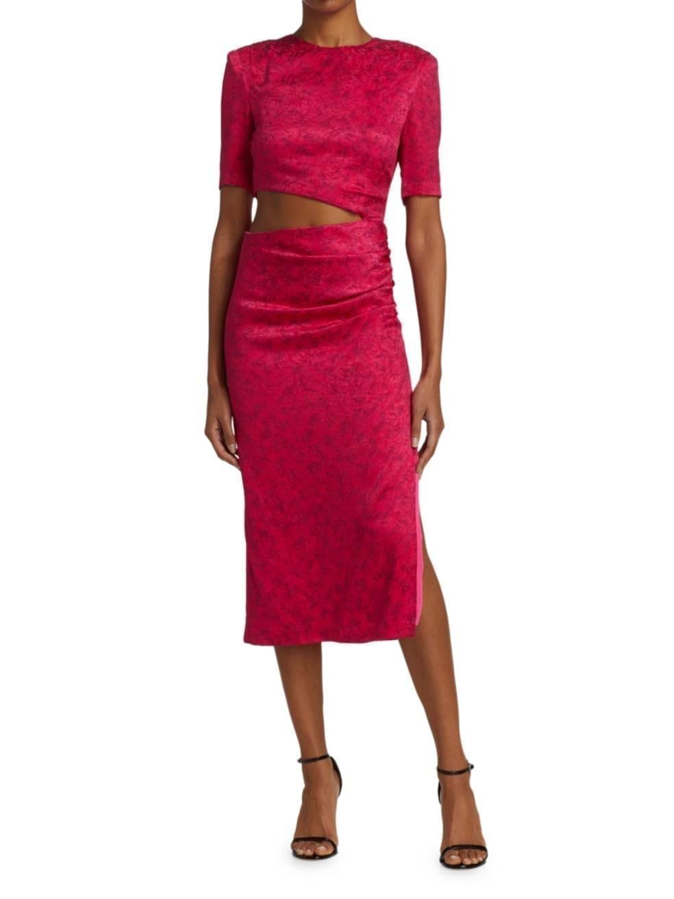 ALICE + OLIVIA Stella Floral Jacquard Side Cutout Sheath Dress