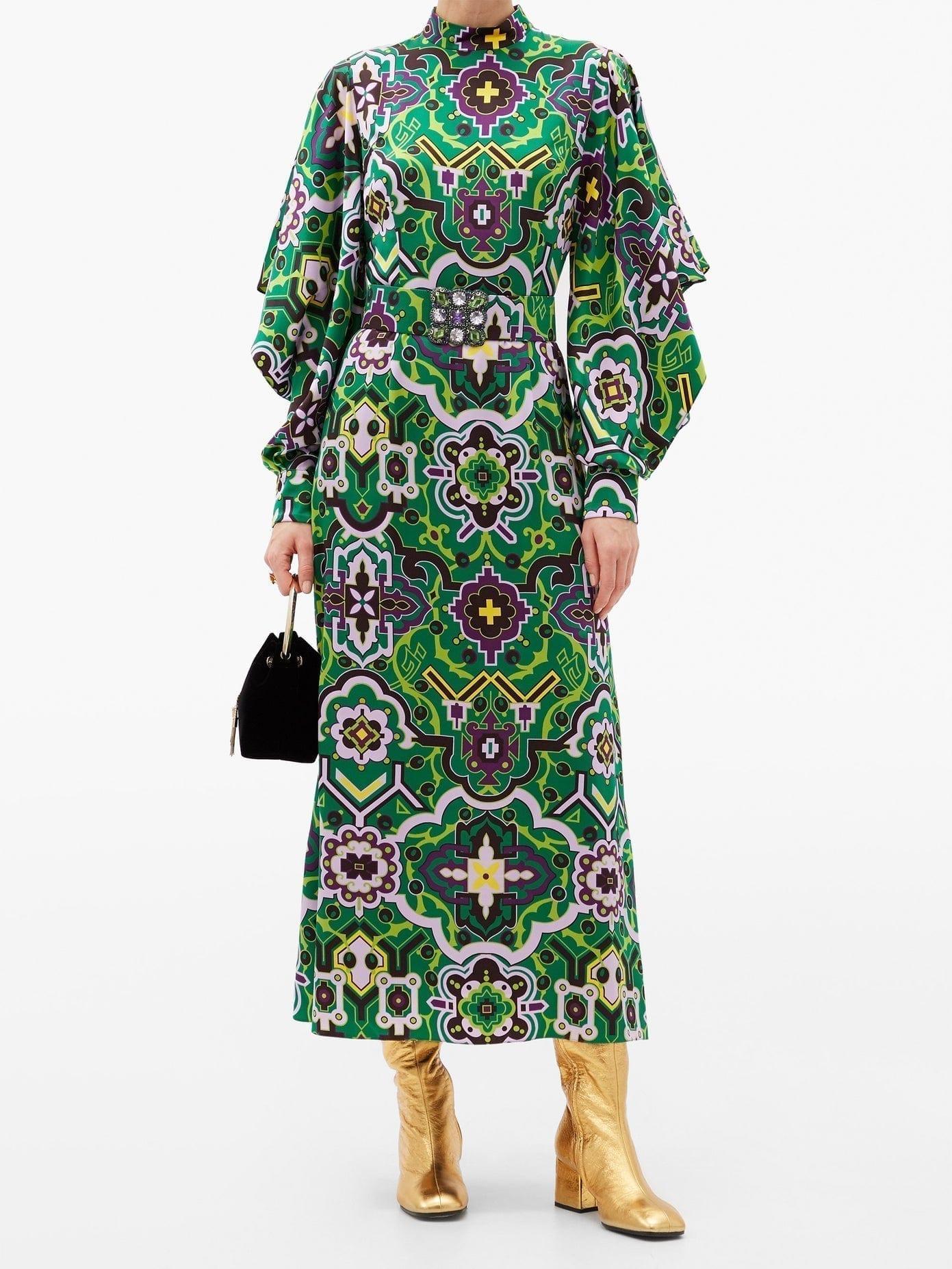 ANDREW GN Byzantine-print Silk Midi Dress