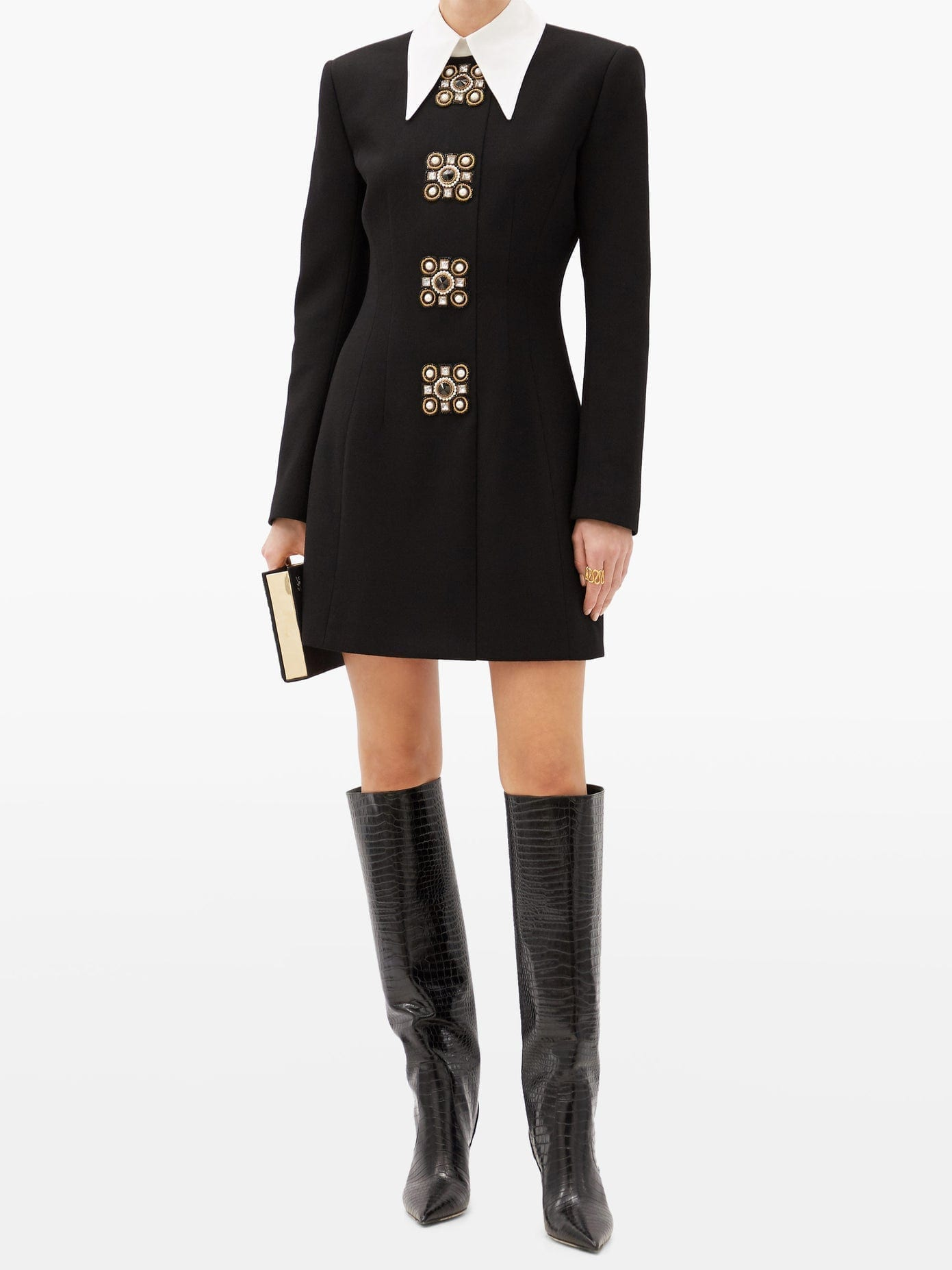 ANDREW GN Oversized-collar Crystal-brooch Wool-blend Dress