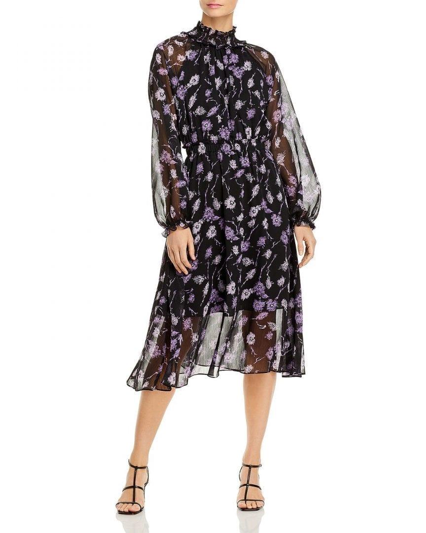 AQUA Floral Midi Dress
