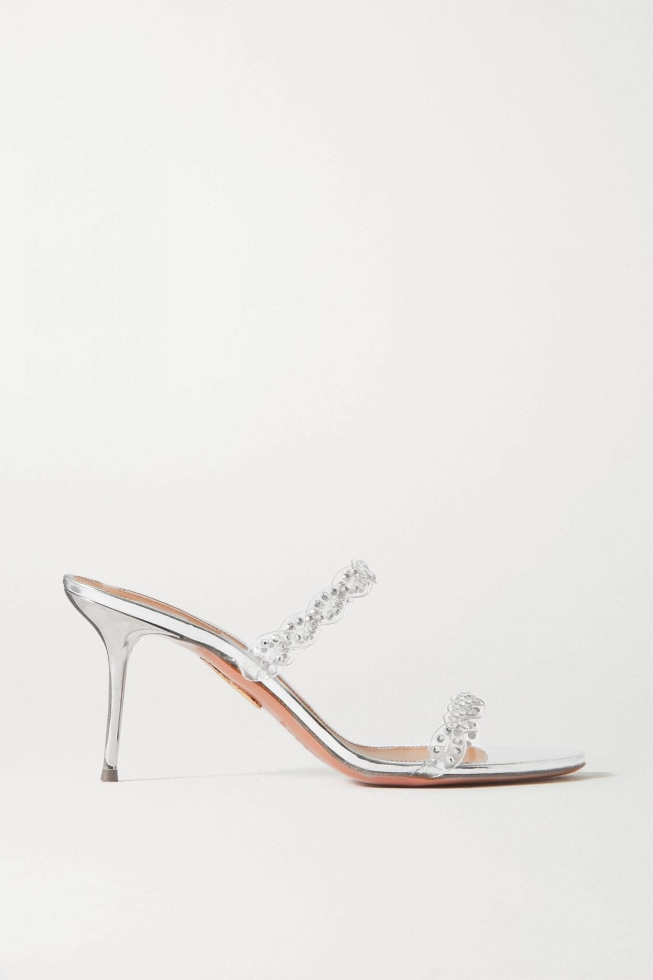 AQUAZZURA Heaven 75 Crystal-embellished Pvc And Metallic Leather Mules