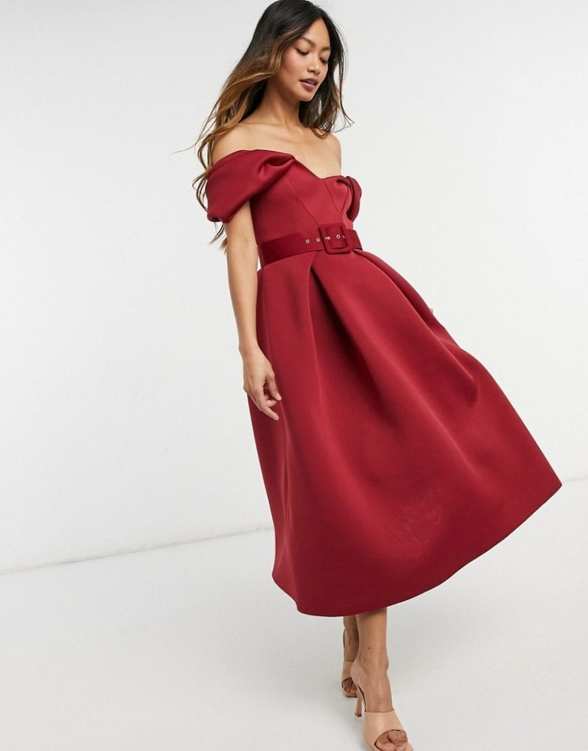 ASOS DESIGN Bow Belted Prom Midi Dress