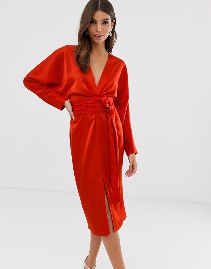 ASOS DESIGN Satin Midi Dress
