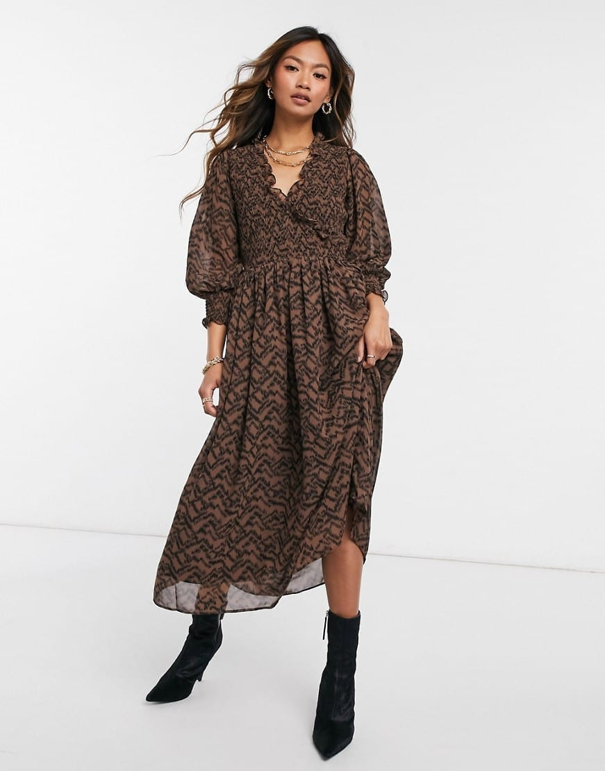 ASOS DESIGN Shirred Midi Dress