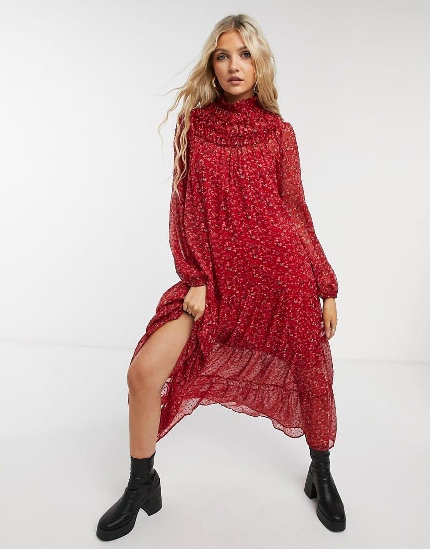 ASOS DESIGN Shirred Neck Swing Maxi Smock Dress
