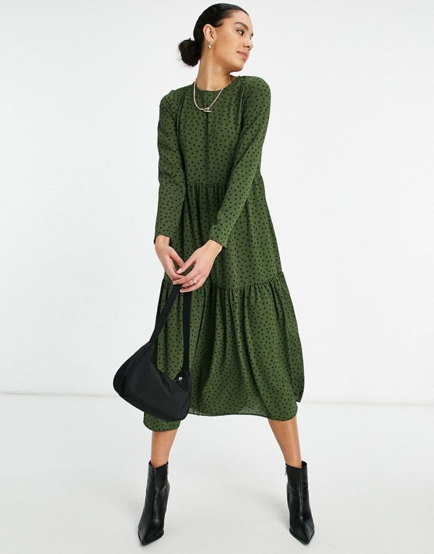 ASOS DESIGN Tall Long Sleeve Tiered Smock Midi Dress