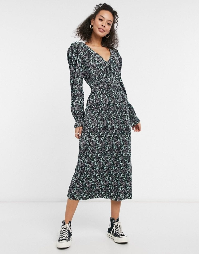 ASOS DESIGN Tall Midi Plisse V Neck Long Sleeve Dress