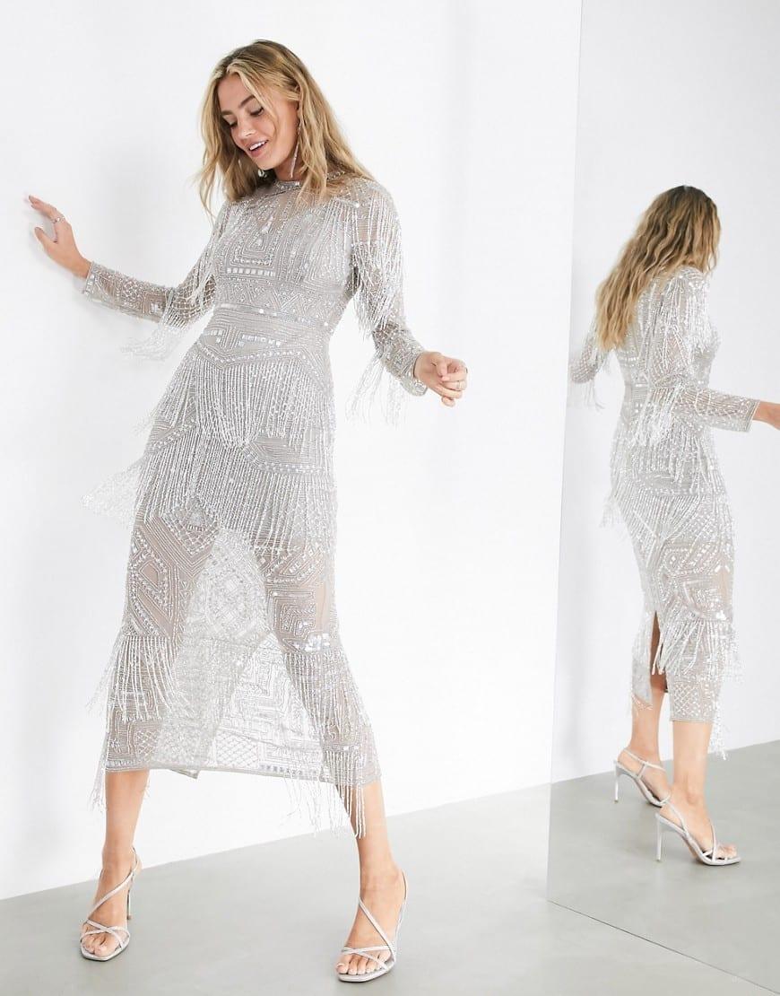 ASOS EDITION Crystal Fringed Midi Dress