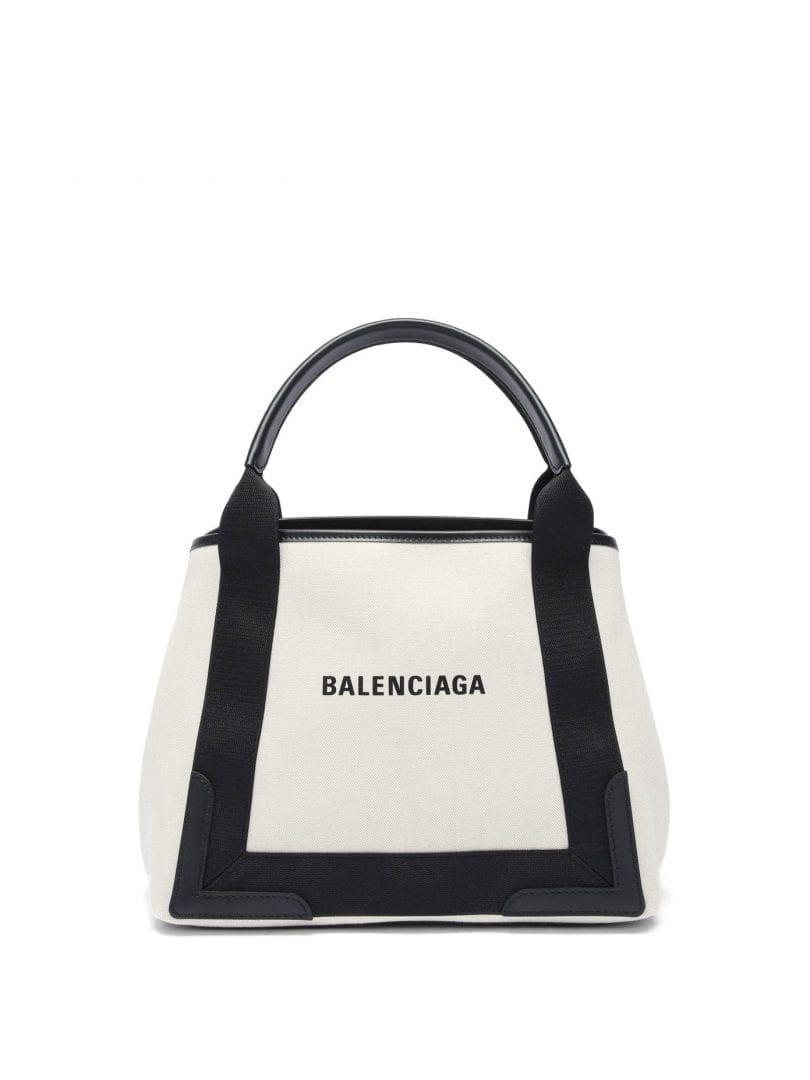 BALENCIAGA Cabas S Logo-print Leather-trim Canvas Tote Bag