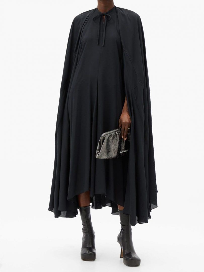 BALENCIAGA Caped Satin-crepe Dress