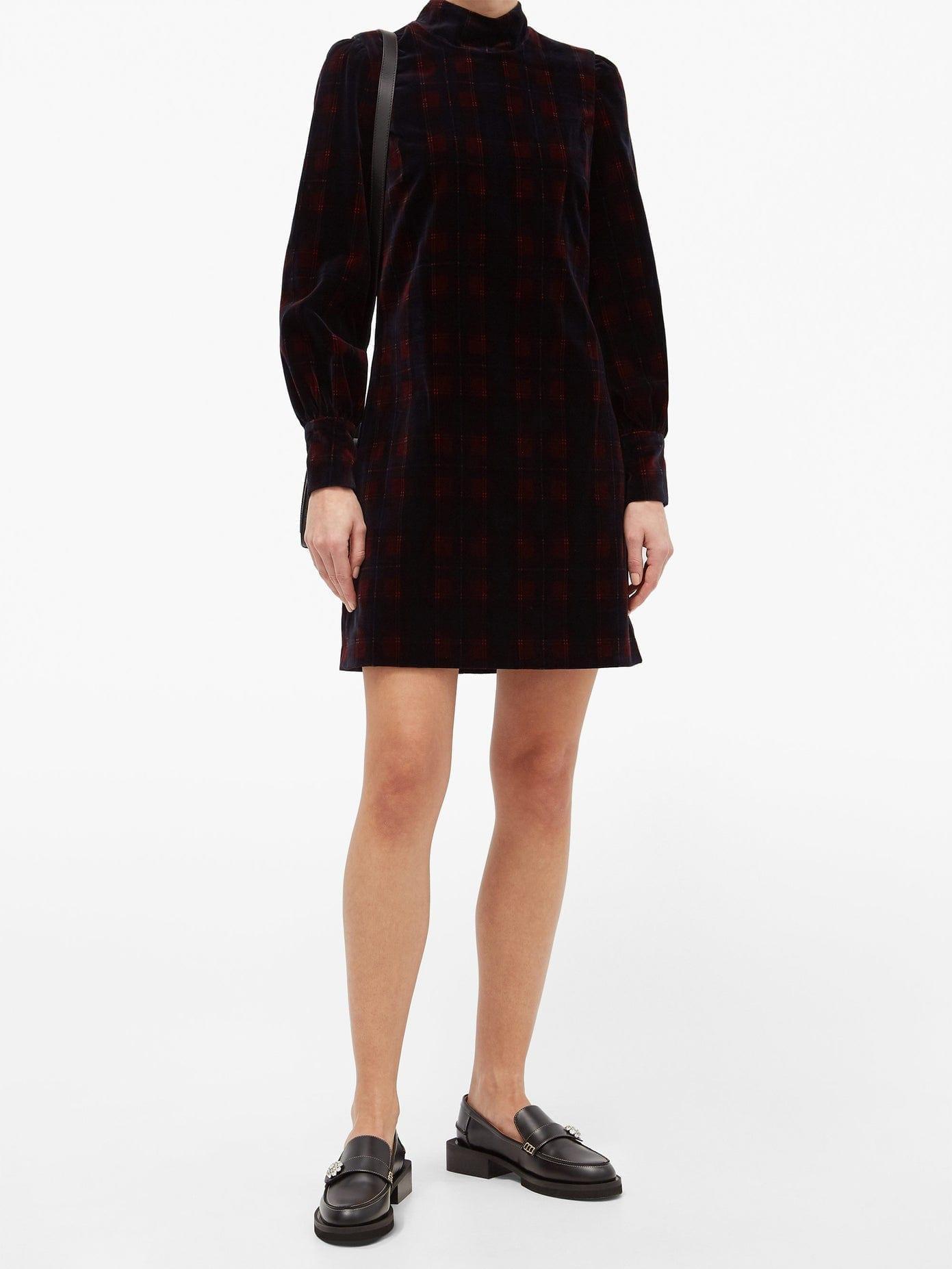 BELLA FREUD Tartan Cotton-velvet Mini Dress