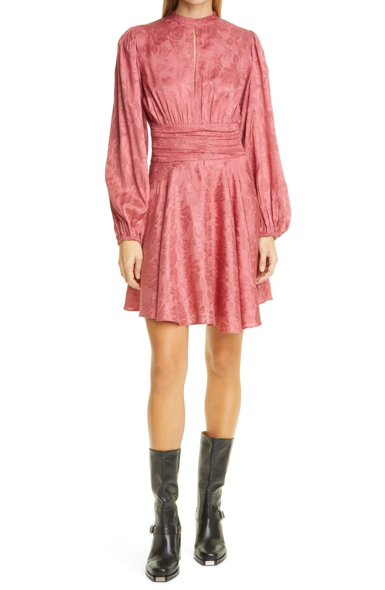 BYTIMO Jacquard Gathers Long Sleeve Mini Dress