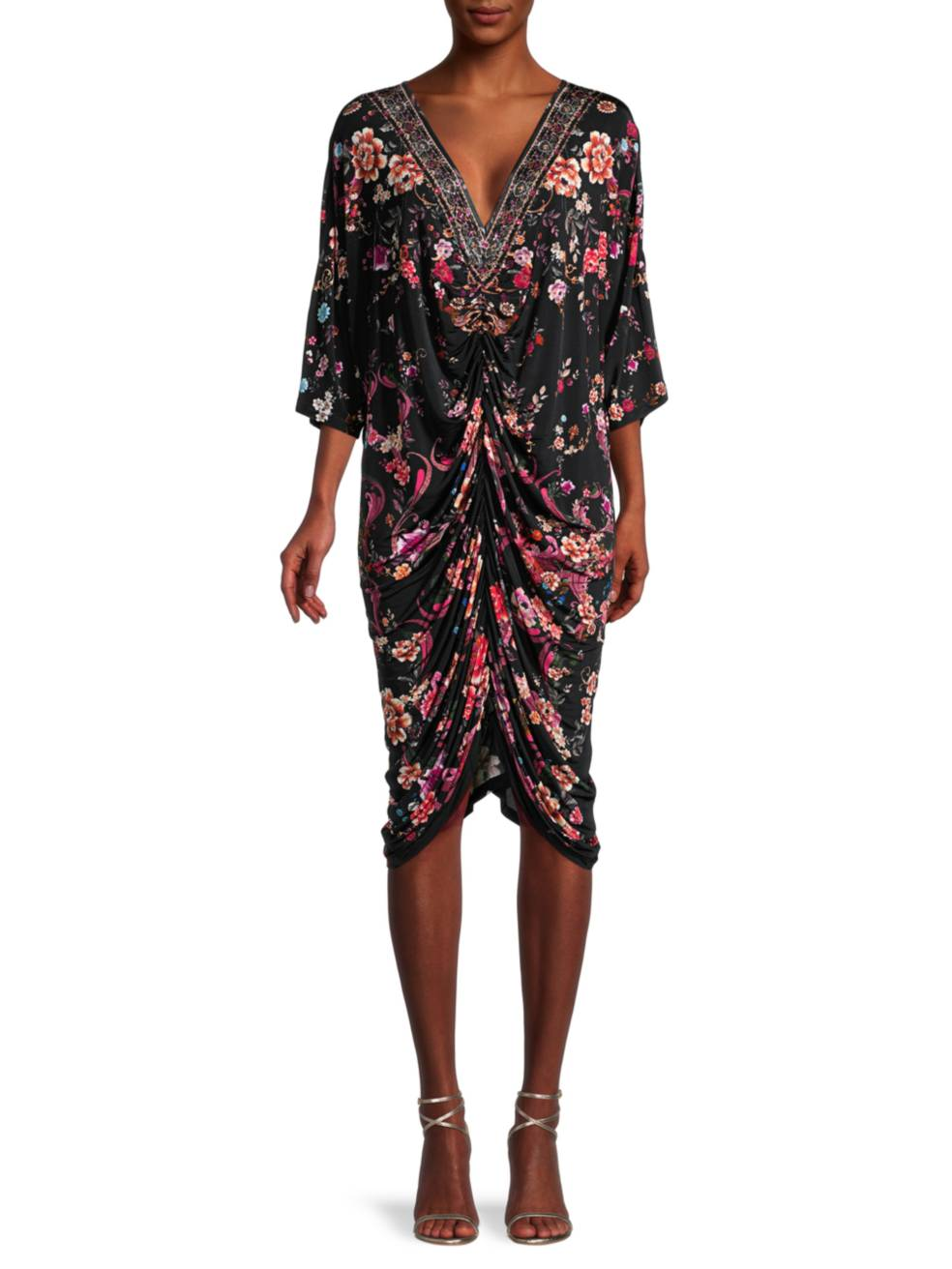 CAMILLA Floral Draped Jersey Dress