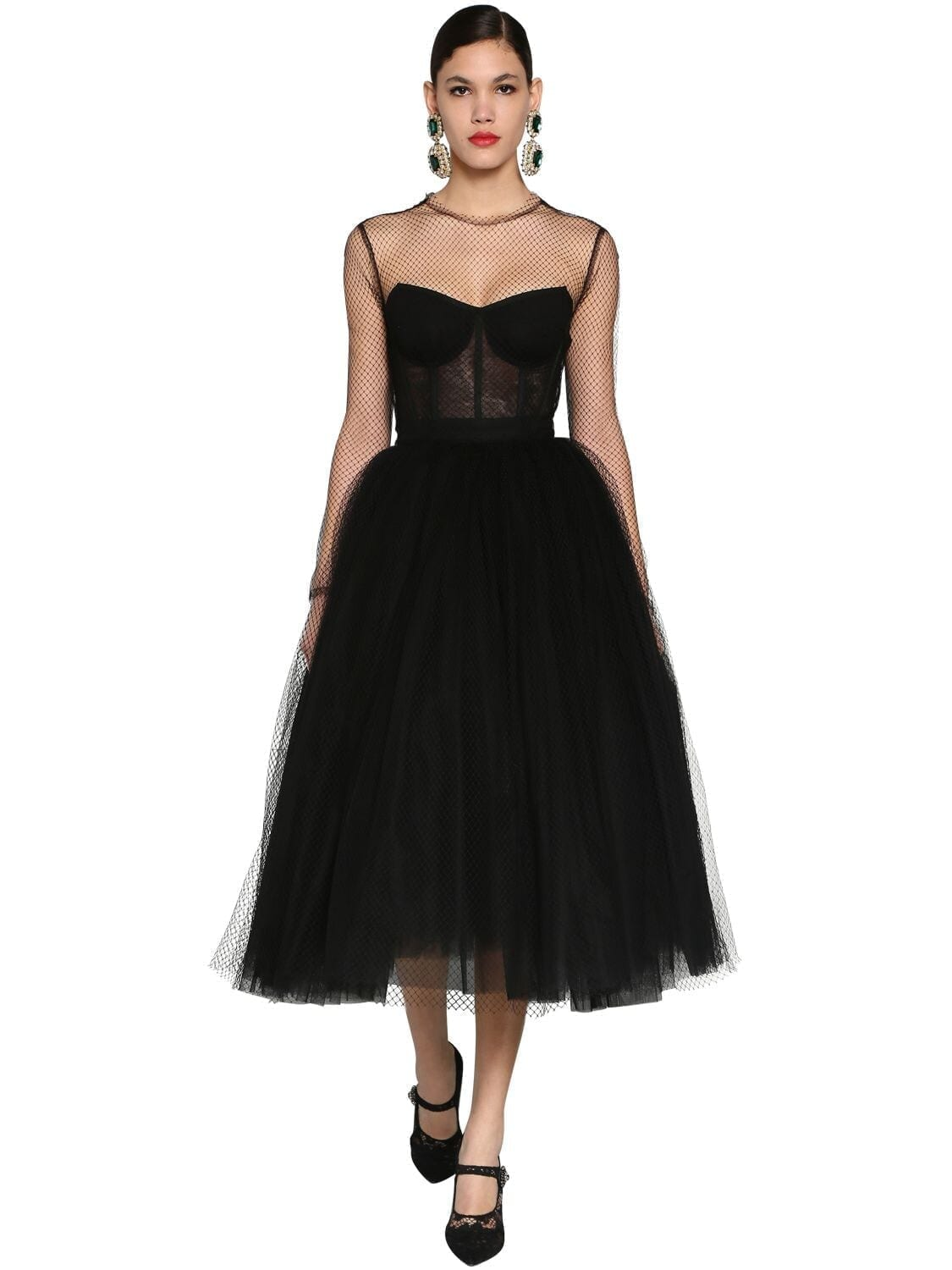 DOLCE & GABBANA Corset Puff Skirt Tulle & Net Midi Dress