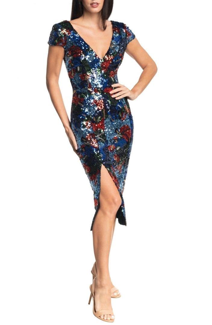 DRESS THE POPULATION Elin Sequin Cap Sleeve Dress