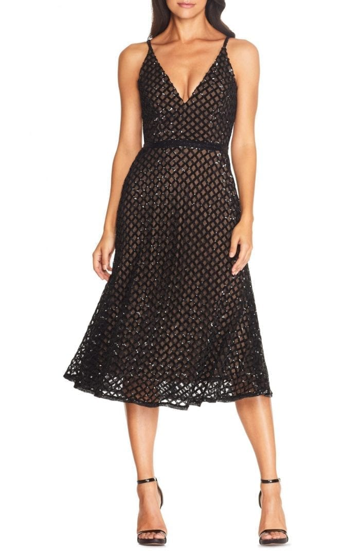 DRESS THE POPULATION Gracie Sequin Overlay Midi Dress