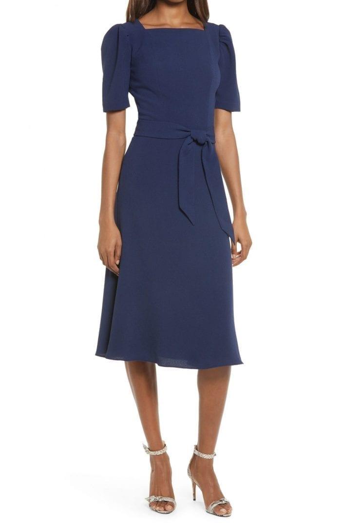 DRESS THE POPULATION Margherita Square Neck Belted Midi Dress