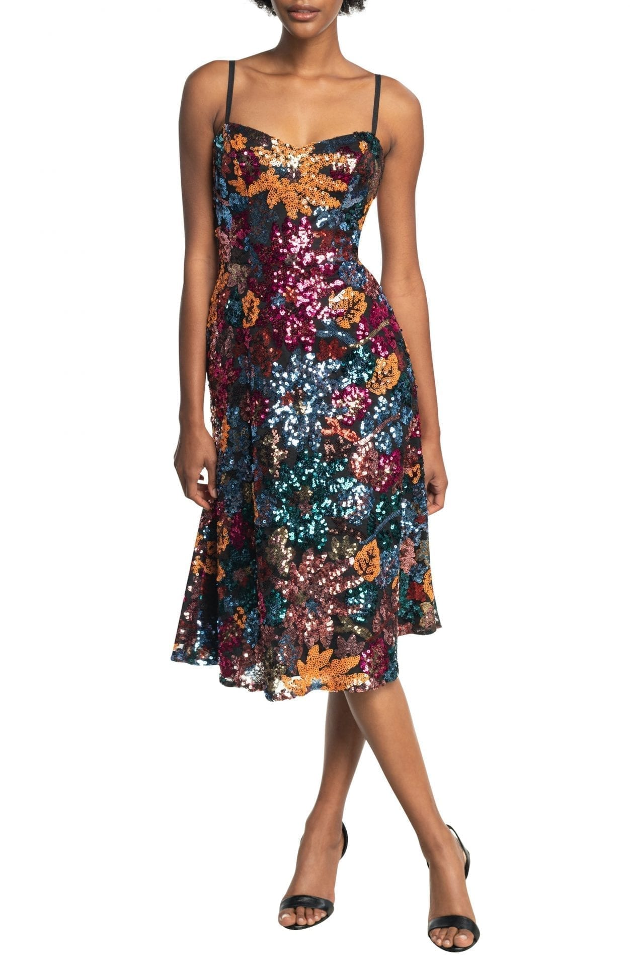 DRESS THE POPULATION Noelle Floral Sequin Midi Cocktail Dress