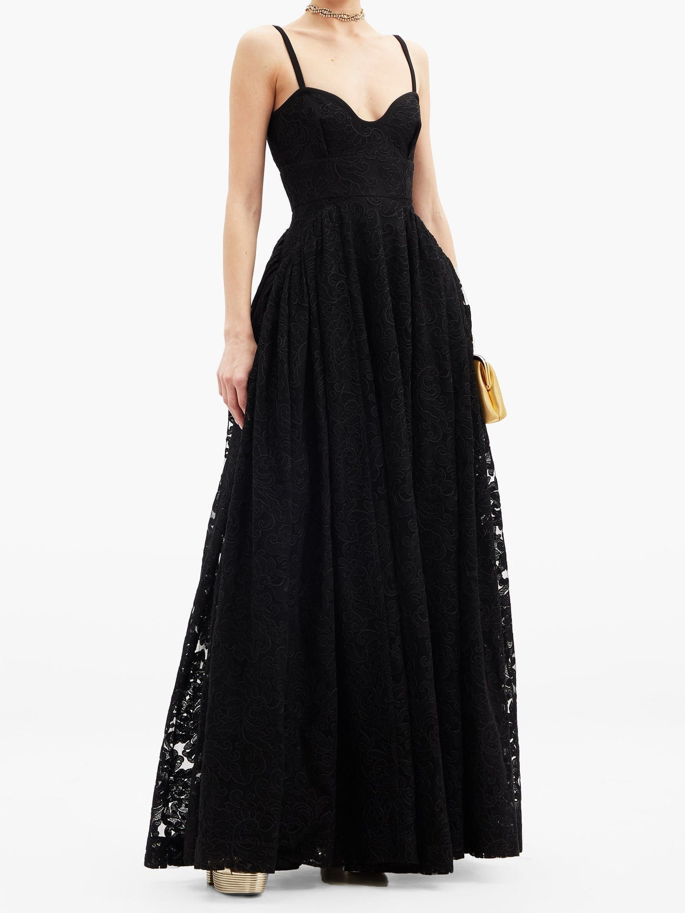 EMILIA WICKSTEAD Diamona Sweetheart-neckline Embroidered-lace Gown