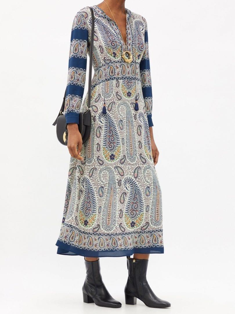 ETRO Capri Tie-neck Paisley-print Crepe Dress
