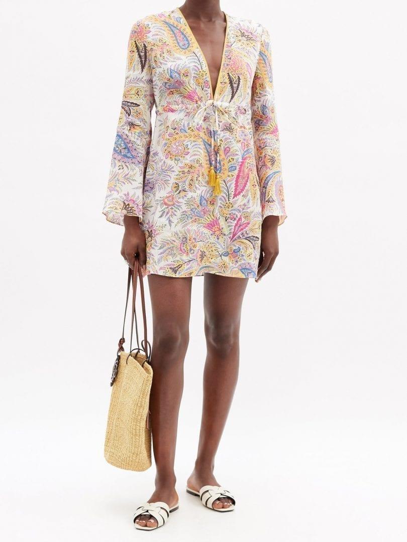 ETRO Itaca Paisley-print Ramie Mini Dress