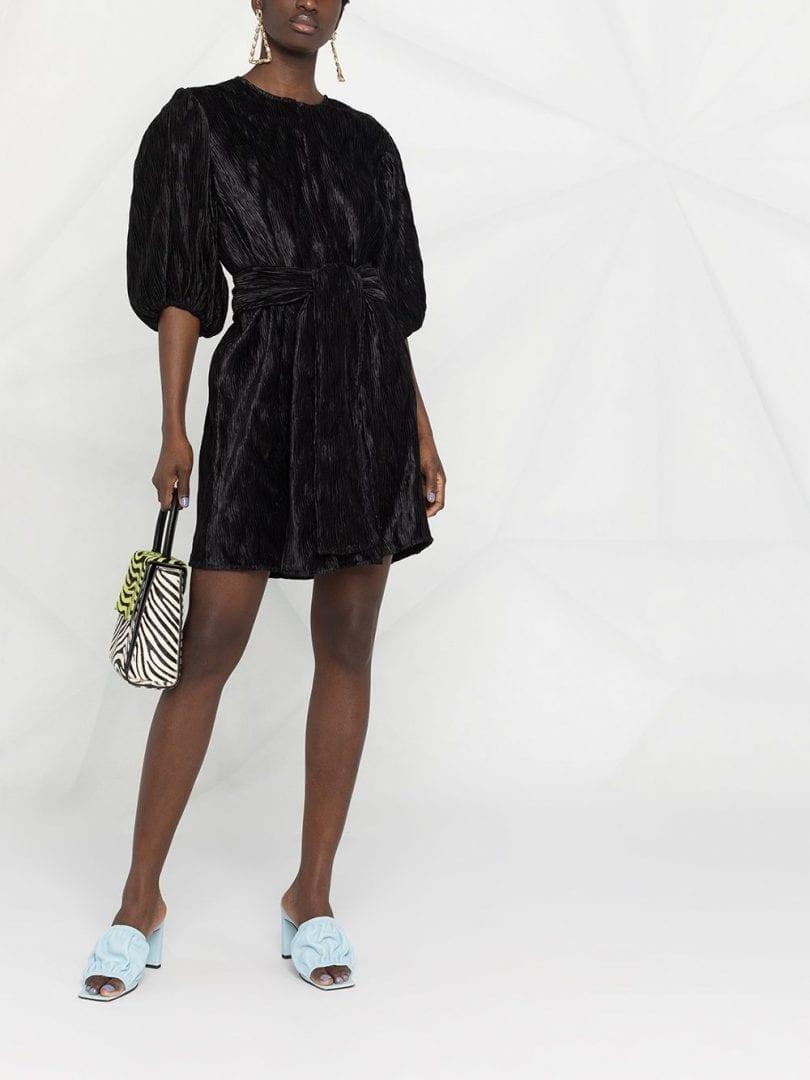 GANNI Plissé-effect Mini Dress