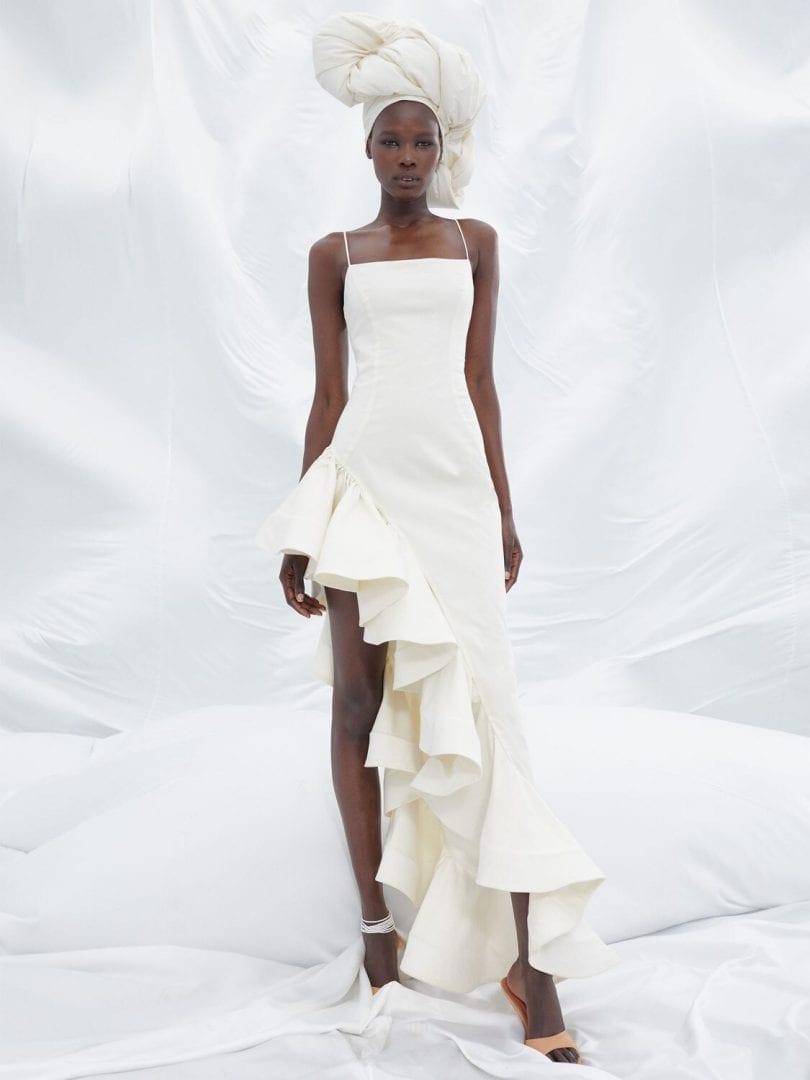 GIUSEPPE DI MORABITO Asymmetric Ruffled Poplin Long Dress