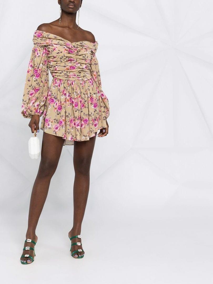 GIUSEPPE DI MORABITO Floral-print Draped Short Dress