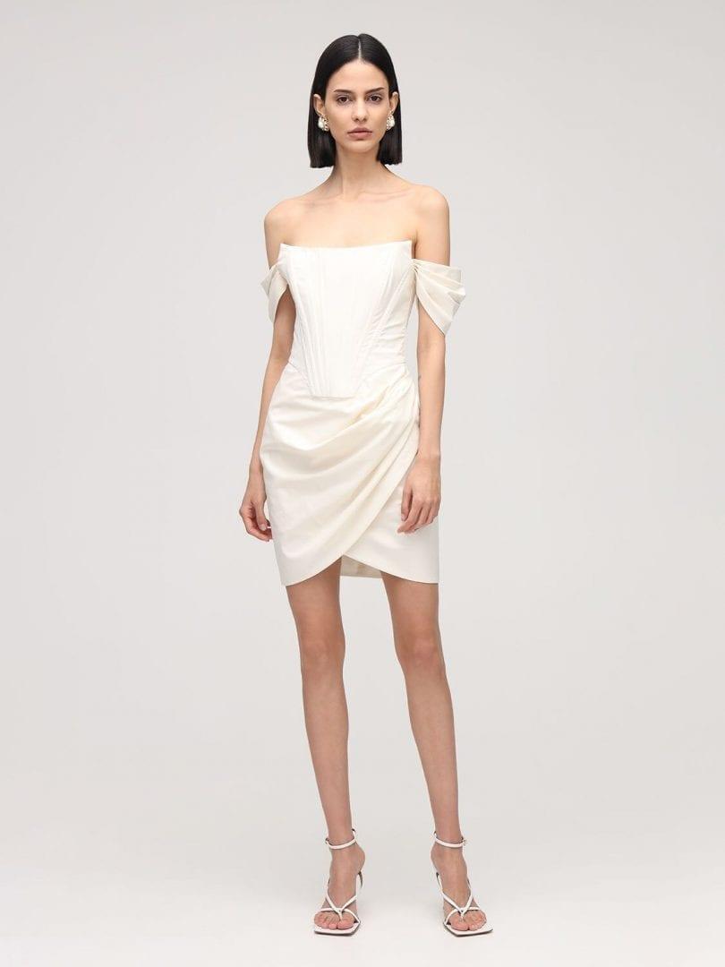 GIUSEPPE DI MORABITO Off-the-shoulder Cotton Poplin Dress