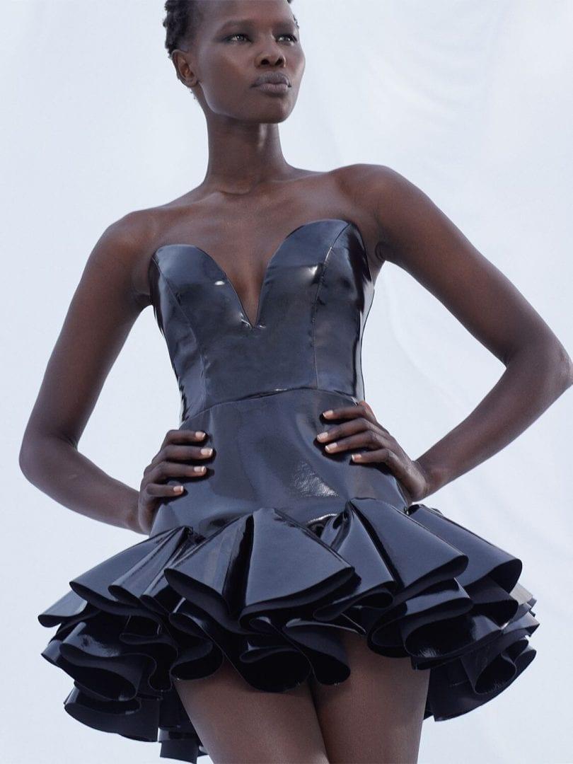 GIUSEPPE DI MORABITO Strapless Vinyl Mini Dress