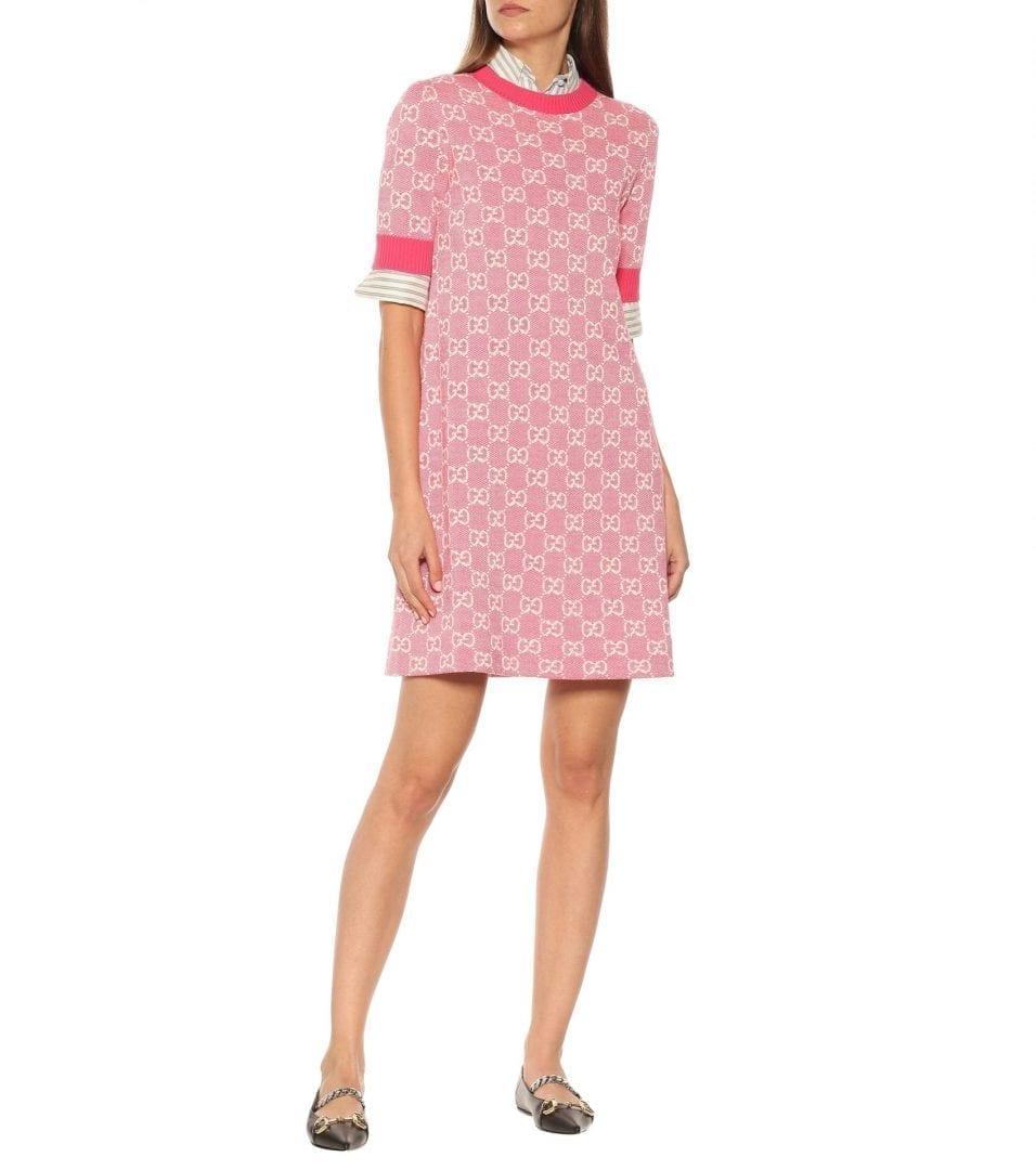 GUCCI GG Wool And Cotton Piqué Mini Dress