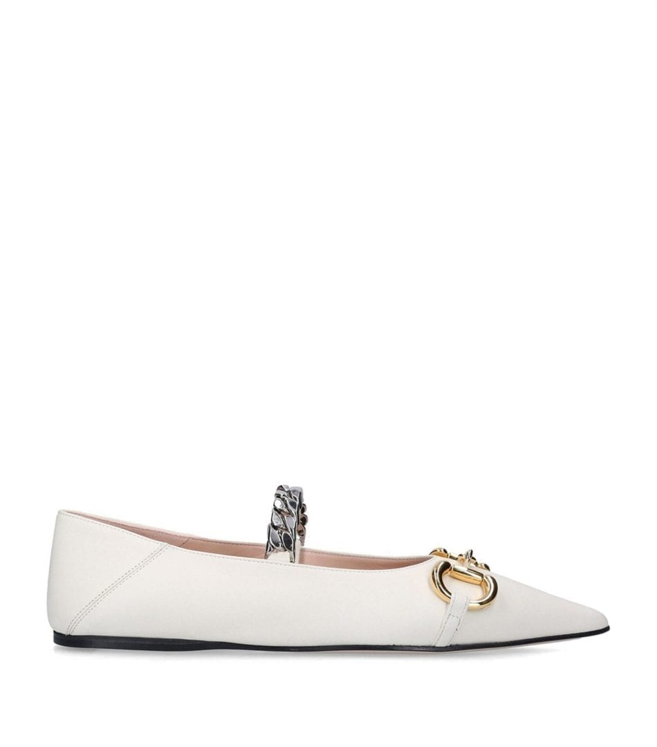 GUCCI Leather Deva Ballerina Flats