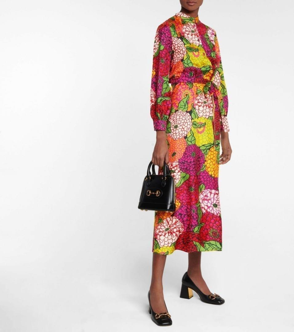 GUCCI X Ken Scott Floral Silk Midi Dress