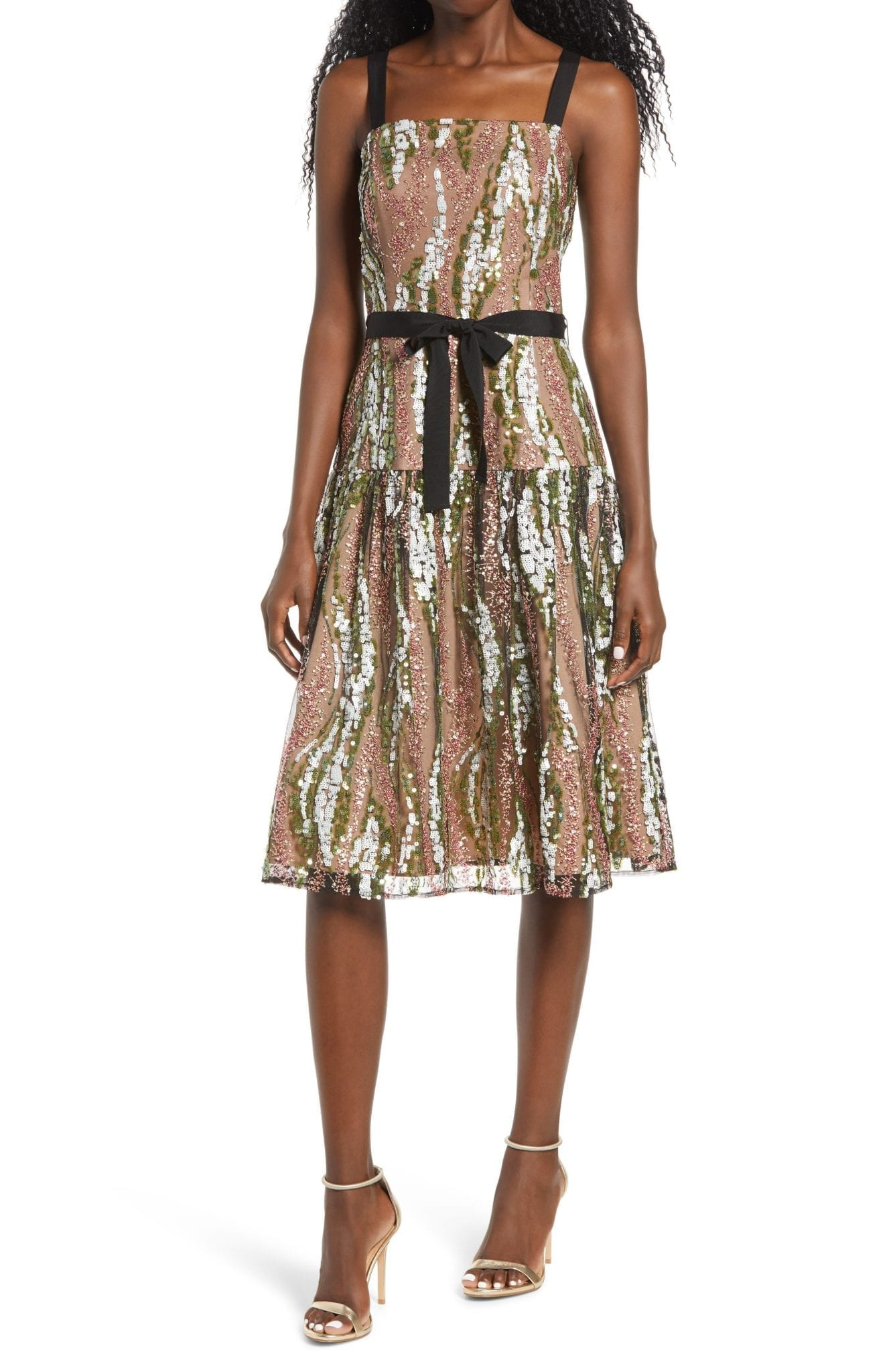 HARLYN Sequin Embroidered Cocktail Dress