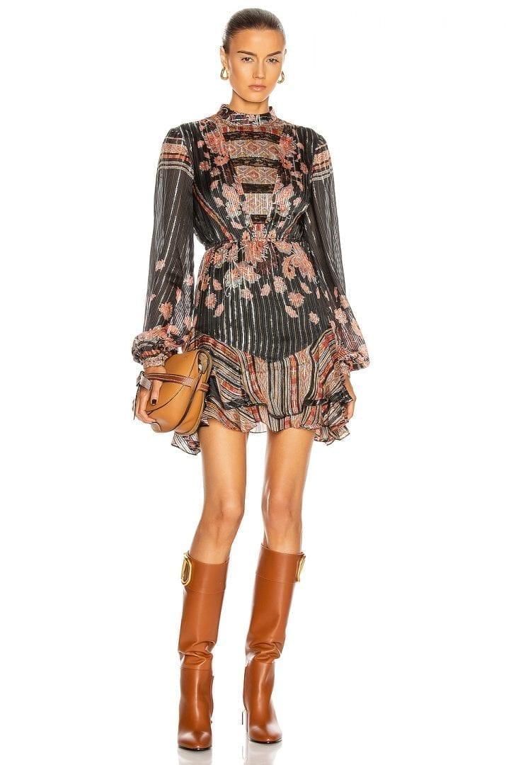 HEMANT AND NANDITA Sion Long Sleeve Mini Dress