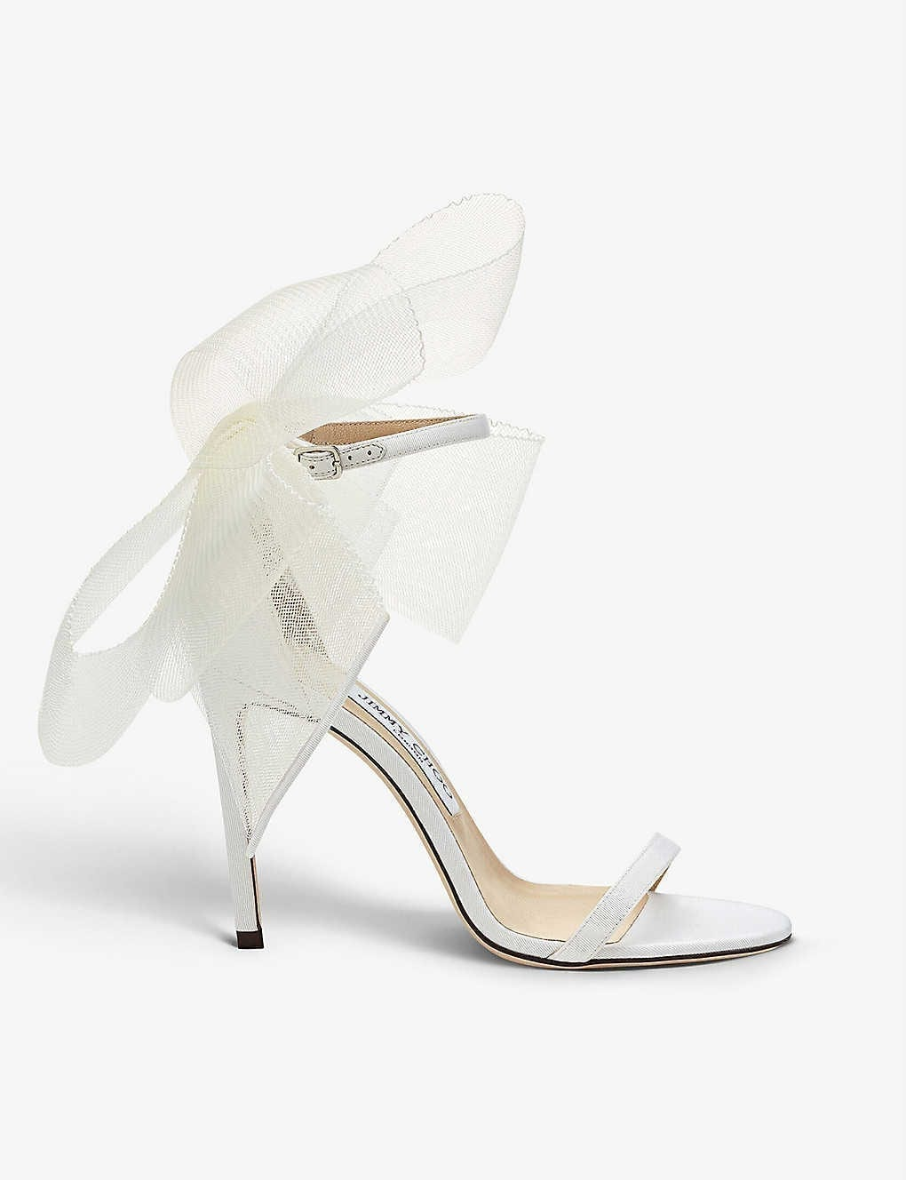 JIMMY CHOO Aveline 100 Asymmetric Leather Sandals