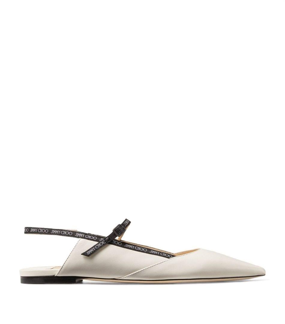JIMMY CHOO Ree Leather Flats