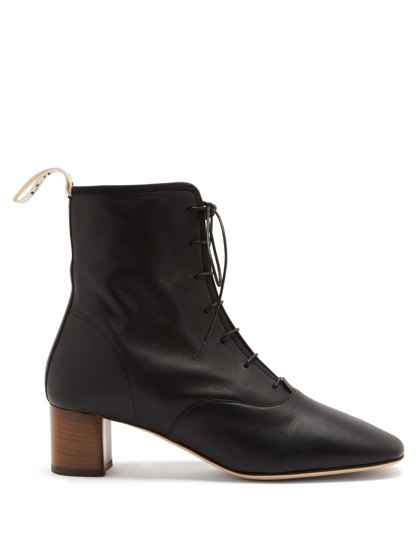 LOEWE Squared-toe Block-heel Leather Boots