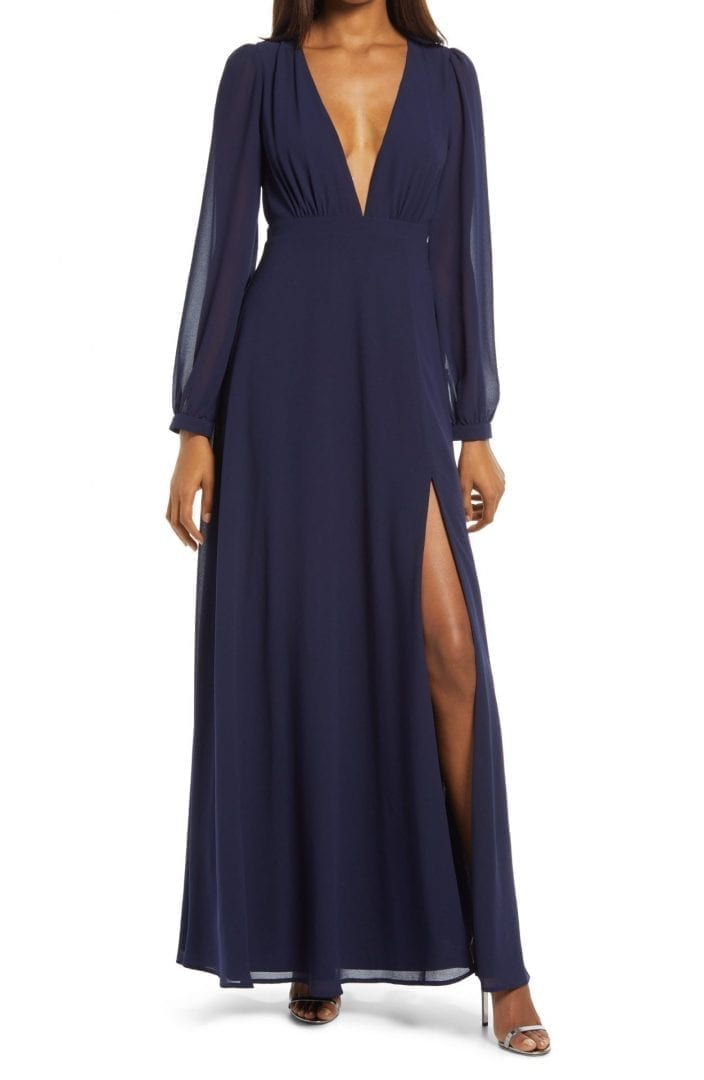 LULUS All My Life Plunge Neck Long Sleeve Gown