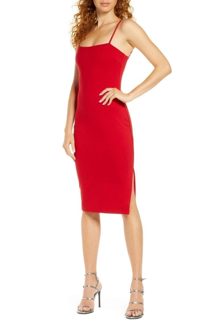 LULUS Paulina Square Neck Cocktail Sheath Dress