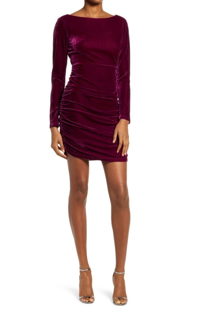 LULUS True Heart Velvet Long Sleeve Dress