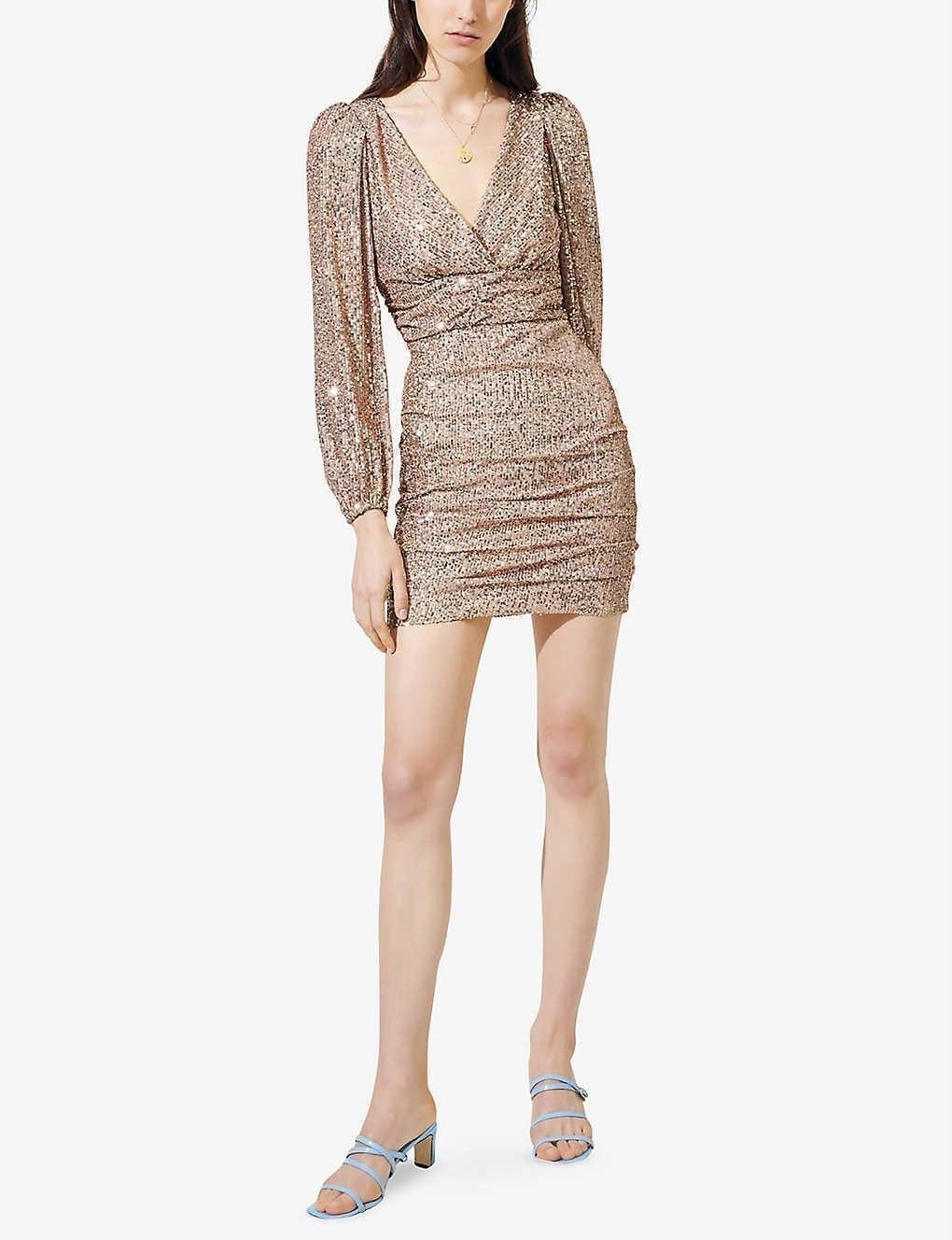 MAJE Long-sleeve Sequinned Mini Dress