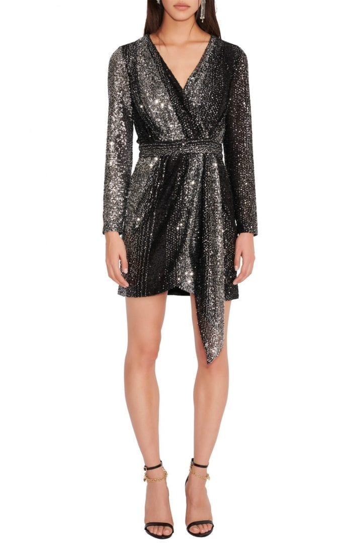 MAJE Sequin Wrap Front Open Back Long Sleeve Dress
