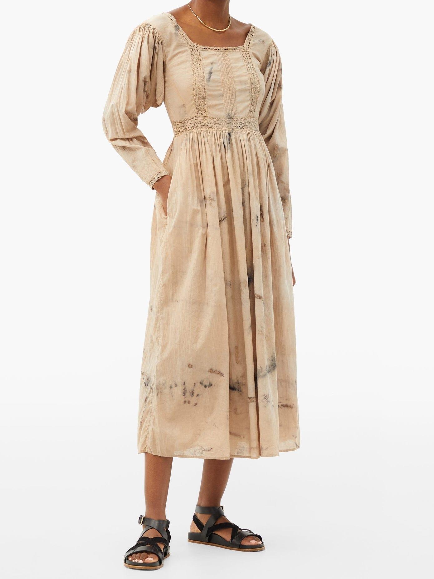 MIMI PROBER Catherine Botanical-dyed Cotton Midi Dress