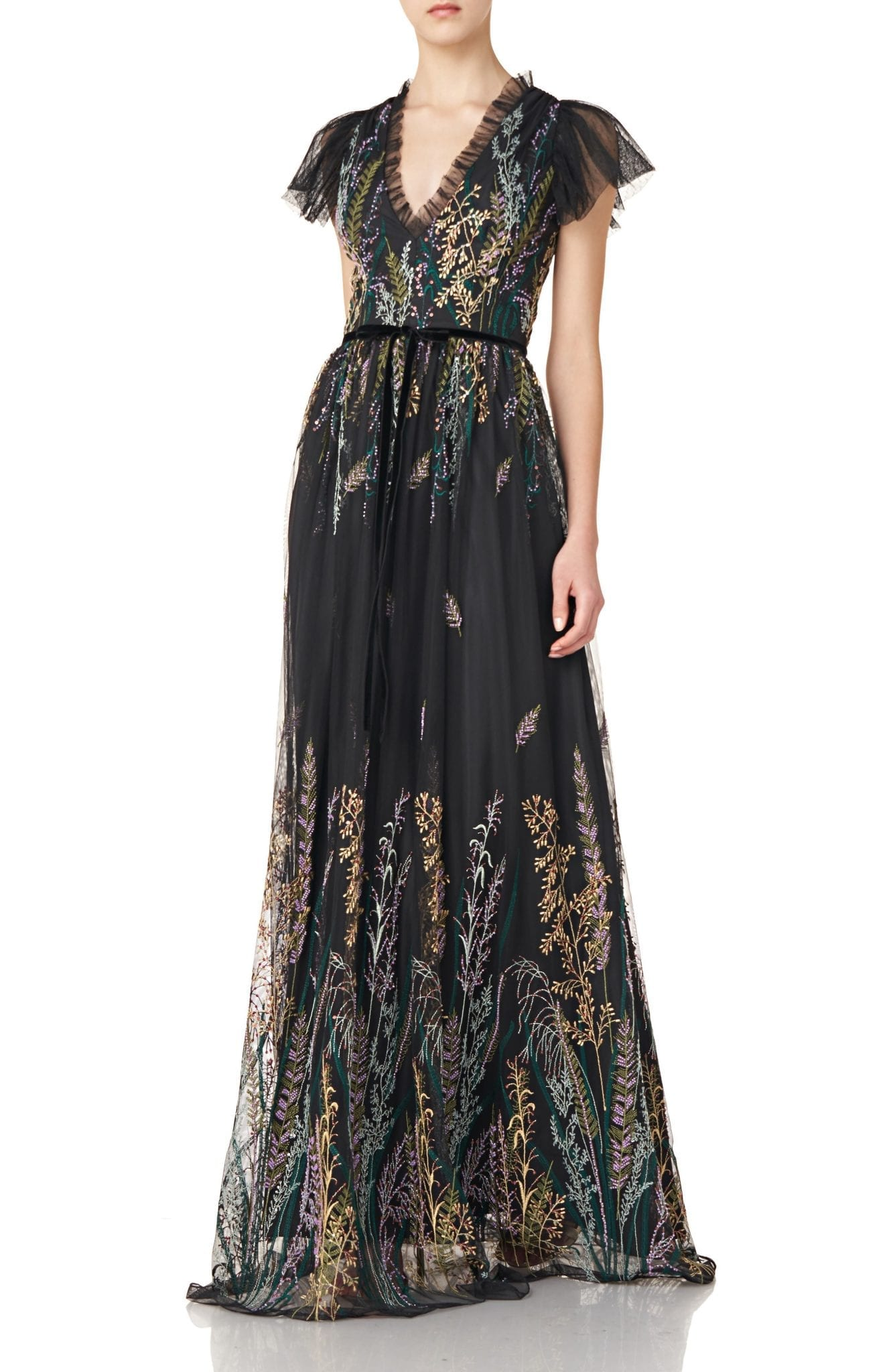 ML MONIQUE LHUILLIER Embroidered Mesh Gown