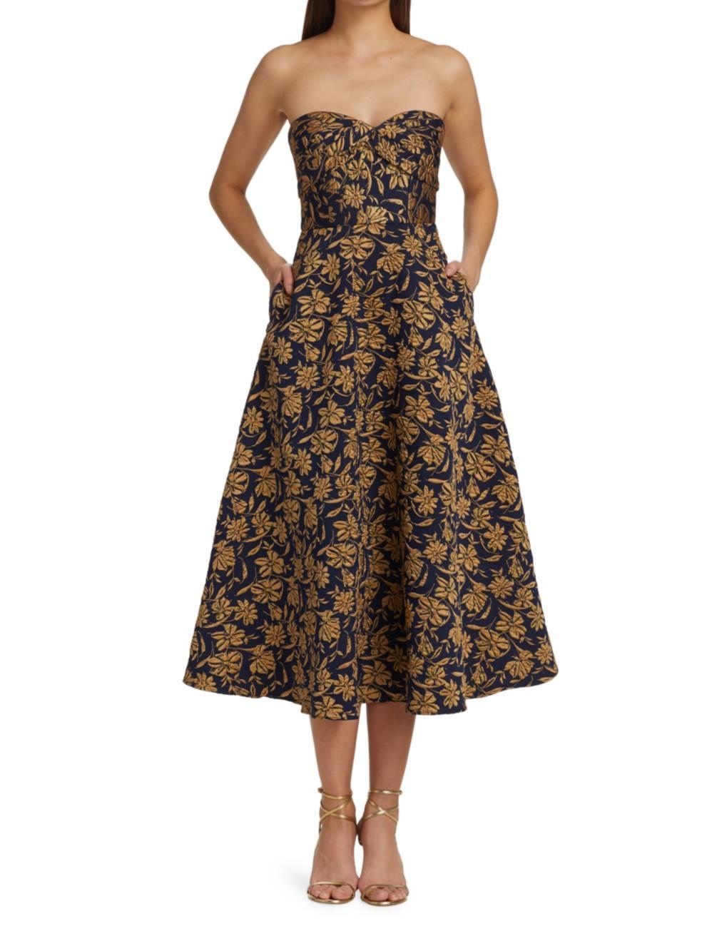 ML MONIQUE LHUILLIER Strapless Floral Jacquard Fit & Flare Midi Dress