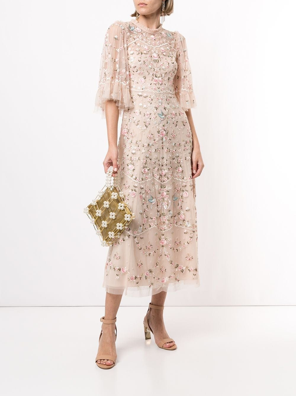 NEEDLE & THREAD Floral Embroidered Tulle Midi Dress