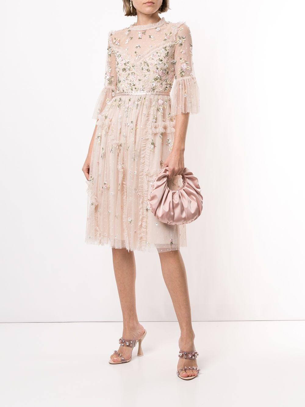 NEEDLE & THREAD Sequin-flower Appliqués Tulle Dress
