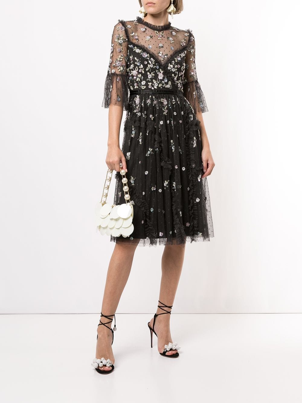 NEEDLE & THREAD Sequin-flower Embroidery Tulle Dress
