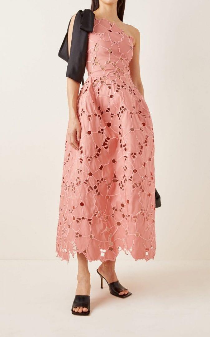 OSCAR DE LA RENTA Broderie Anglaise One-Shoulder Tea-Length Dress
